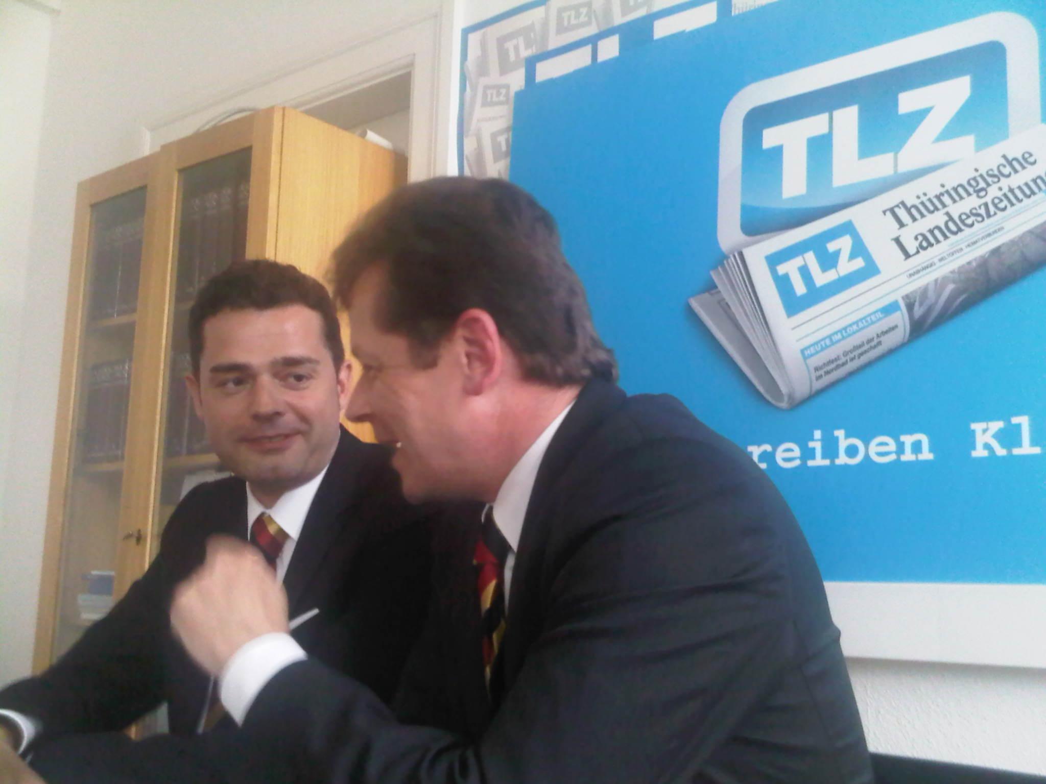 Mike Mohring und Uwe Barth bei der TLZ