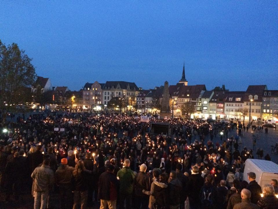 Thüringer Bürger demonstrieren gegen Rot-Rot-Grün