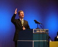 Parteichef Guido Westerwelle während seiner Rede