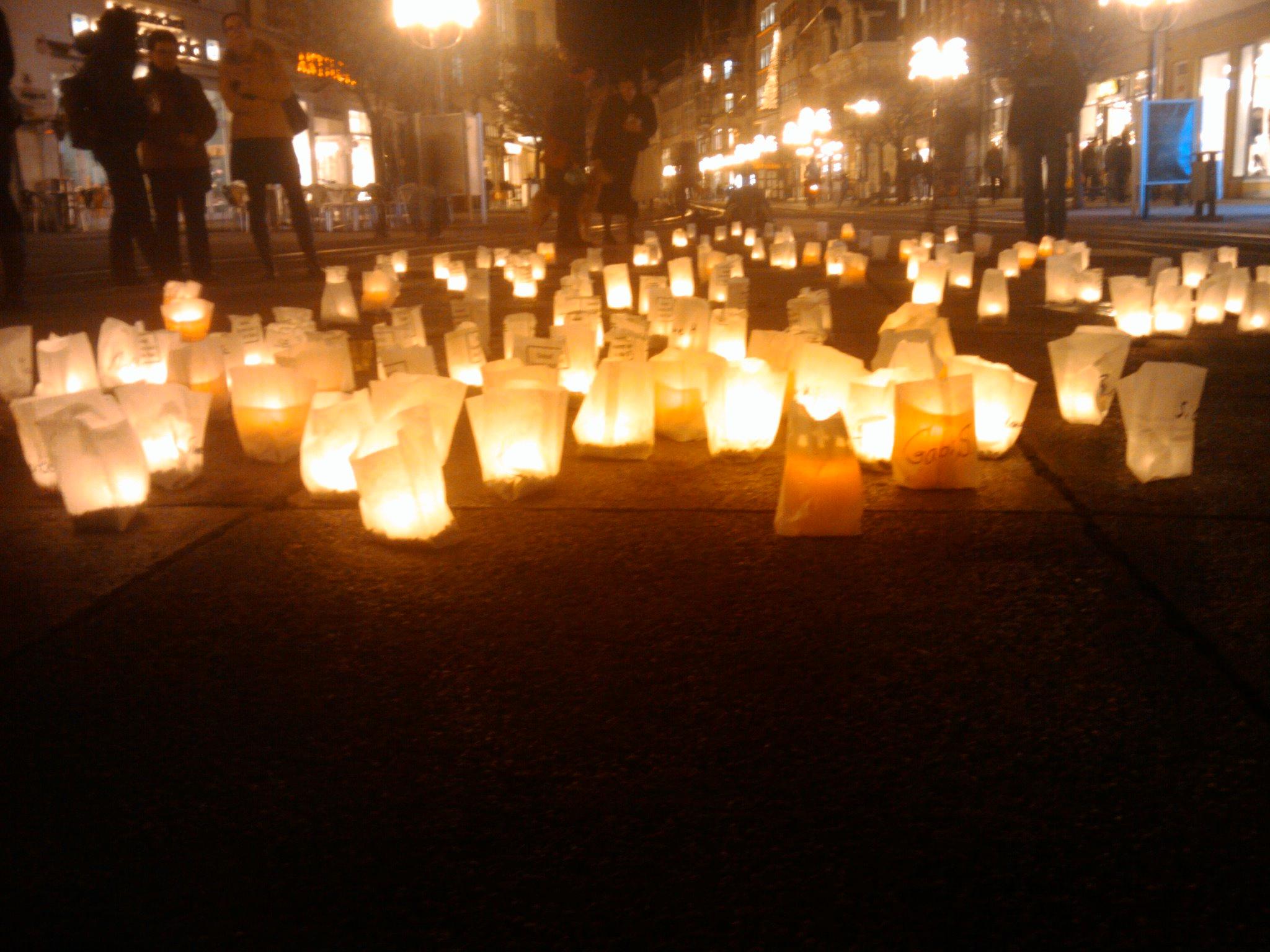Mahnende Lichter in Erfurts Innenstadt