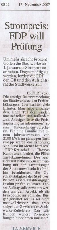 Strompreis: FDP will Prüfung
