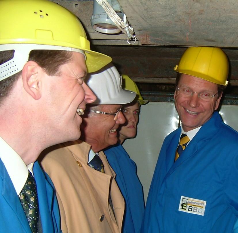 Barth, Westerwelle und Bergwerkschef Springer (M.)