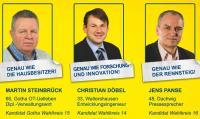 FDP-Kandidaten M. Steinbrück, C. Döbel, J. Panse