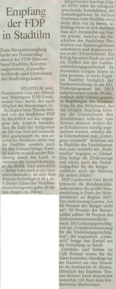 Artikel der Thüringer Allgemeine vom 05.02.2008