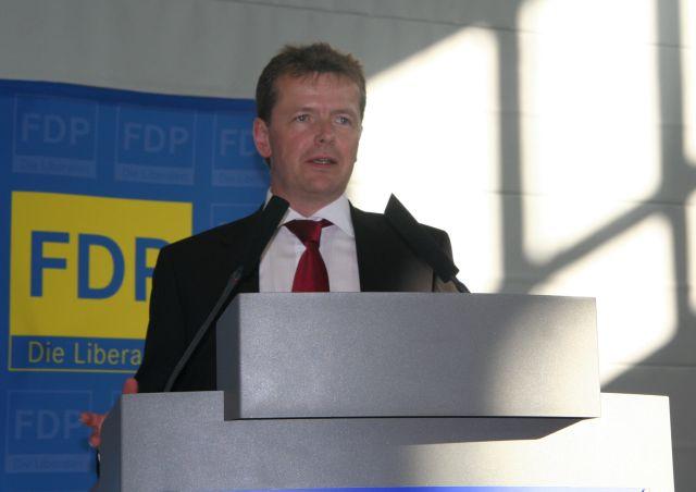 Landeschef Uwe Barth, MdB, während der Rede
