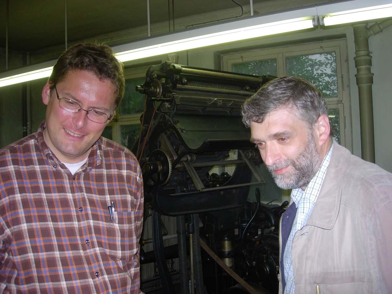 A.Taeger und A.Stroukov in der Vopelius-Druckerei