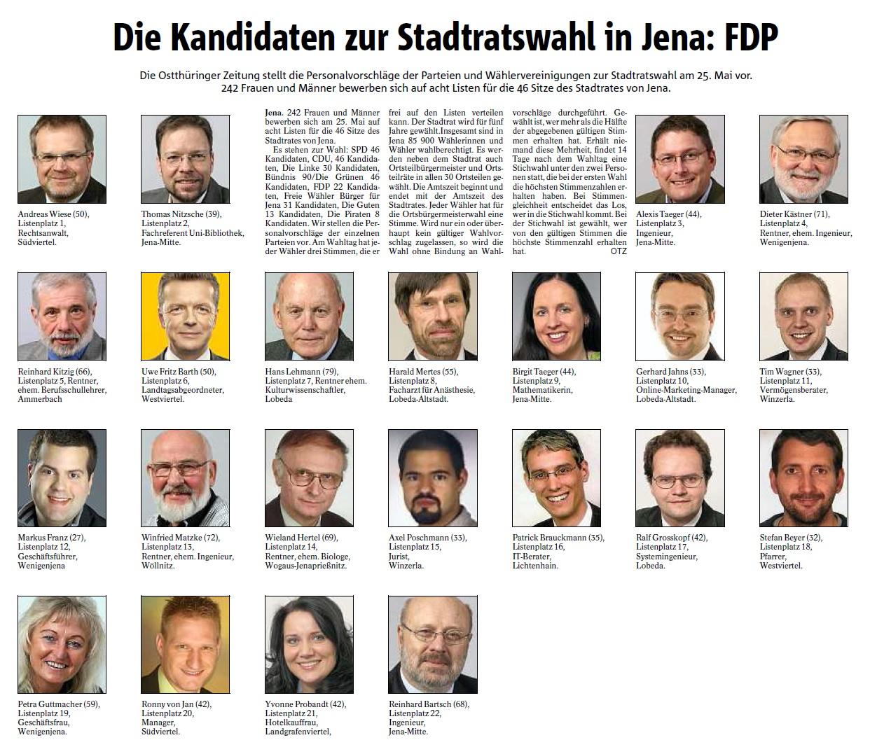 FDP-Kandidaten zur Kommunalwahl 2014