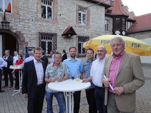 SHK-Liberale mit dem Bürgermeister von Kranichfeld