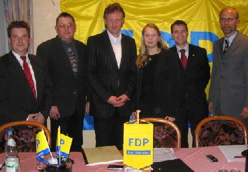 Gothas FDP-Spitze mit Neumitglied Chowanietz (m.)