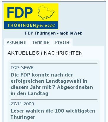 FDP Thüringen mobileWeb