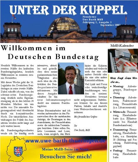Der neue Newsletter von Uwe Barth, MdB