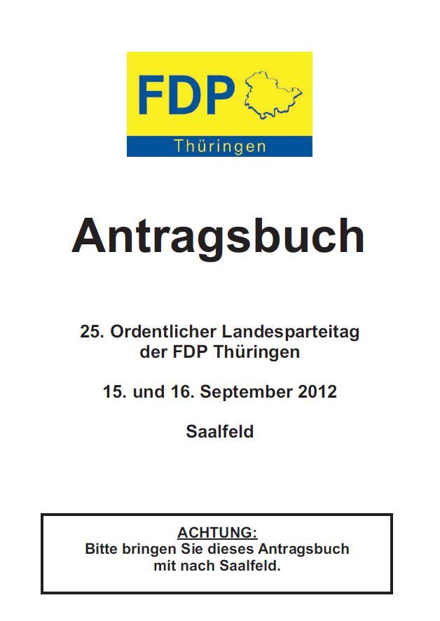 Antragsbuch zum 25. Ordentlichen Landesparteitag
