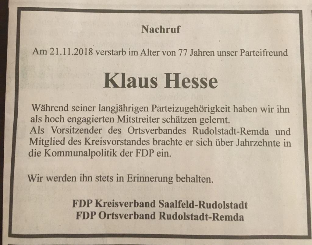 Anzeige Nachruf Klaus Hesse