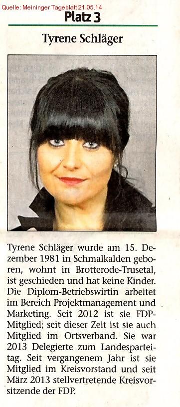 Listenplatz 3 Tyrene Schläger