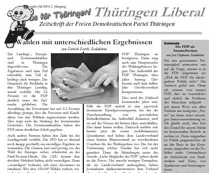 Thüringen Liberal - Diese Woche druckfrisch