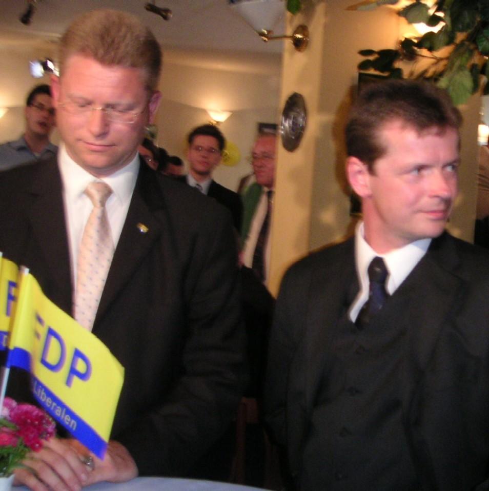Volker Weber und Uwe Barth am Wahlabend
