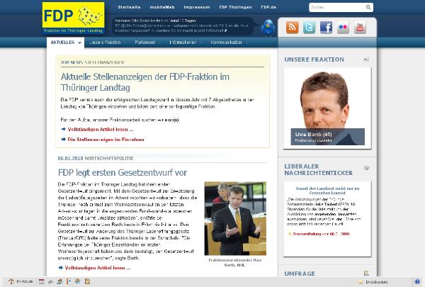 Website der FDP Fraktion im Thüringer Landtag
